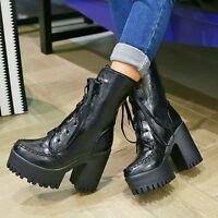 Womens High Chunky Heel Lace Up Motor Platform Biker Vintage Punk Ankle Boots