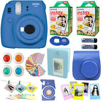 Fujifilm Instax Mini 9 Instant Camera Cobalt BLUE +40 Film All in 1 Acc Bundle