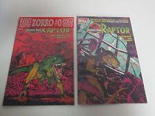 Lot 2 TOPPS COMICS Jurassic Park Raptor Comic Books #1 #2 with Zorro #0 & Cards