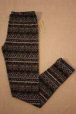 NEW Womens Leggings Medium Soft Stretch Pants Casual Career Black White Print
