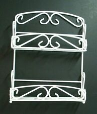 Vtg white wall spice rack shelf wrought iron Hanging table top kitchen bathroom