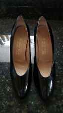 Vtg 80's Bruno Magli Italy black patent leather pointy toe cone heel shoes 10.5