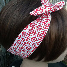 Medallion Print Wired Dolly Bow Made in America Headband Rockabilly Hair Scarf