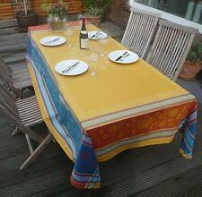 Tablecloth Jacquard Cotton 160x250 CM Curry Blue France With Teflonschutz