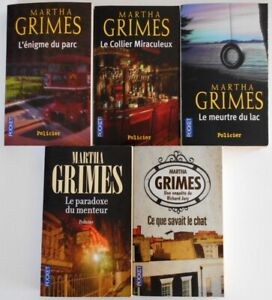 LOT de 5 Livres ROMANS MARTHA GRIMES POCKET THRILLER POLICIER