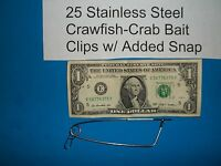 25 ea Crawfish Crab Net Trap Bait Clips with Added Snap CrabHoudini Pin Pot Line