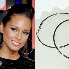 """3 1/2"""" SUPER BIG ~90mm HUGE Silver plated Large HOOP~ Circle Celebrity Earrings"""