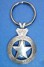 Western Cowboy Jewelry Antique Silver Engraved Star Concho Key Ring Kit