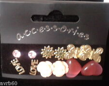 stud earrings 6 pairs of 1 pink rose 1 flower 1 butterfly 1 heart 1 love new