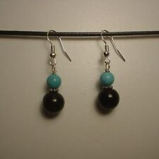 Onyx / Turquoise Beads Silver Earrings(E181)