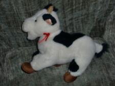 "Gund Stuffed Plush Black White Cow Red Bow Ribbon 1993 8"" Tall 12"" Long"