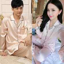 NEW Womens Mens Sleepwear Loungwear Robes Soft Silk Satin Pajamas Pyjamas Set