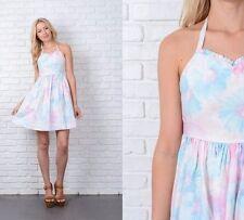 Vintage 80s Blue Pink Watercolor Floral Print Dress Mini A Line XXS
