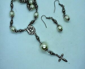 Handmade white pearl St. Therese chaplet/necklace + earrings--FREE SHIPPING