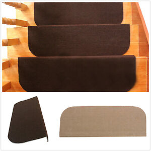 13Pcs Self-adhesive Stair Tread Mats Non-Slip Step Rug Carpet Protection Cover