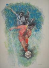 Renzo Vespignani calciatori roma firmata numerata 3/50 litografia 1990 grande