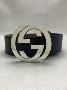 Authentic Gucci GG  Total pattern Mens Black leather Silver Buckle