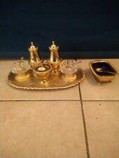 More details for vintage plated gilt gold coloured 7 piece condiment set