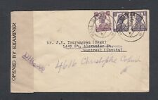 INDIA 1940s TWO WWII CENSORED COVERS NARSAPUR & HALL BAZAR TO MONTREAL & TORONTO
