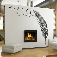 New Wall Sticker Birds Feather Bedroom Home Decal Mural Art Room Decor Black