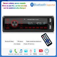 Single 1 DIN Car Stereo MP3 Player Bluetooth FM Radio USB TF AUX Audio In Dash