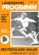 West Germany v Wales Friendly 14 Dec 1977