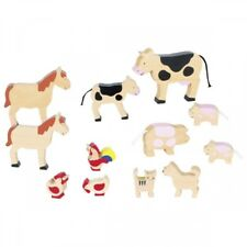 Bauernhoftiere aus Massivholz, Holztiere 12 Stück