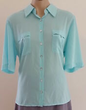 NONI B Short Sleeve AQUA BLUE Casual Work SHIRT BLOUSE Front Pockets size XL 16