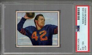 1950 BOWMAN FOOTBALL #27 SID LUCKMAN PSA 4 VG-EX HOF
