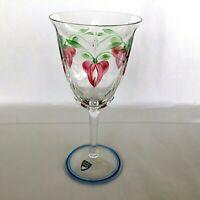 Orrefors Sweden Maja Signed Wine Glass Stem Clear Flowers Vines vtg
