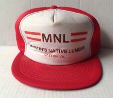 1980s MARTIN'S NATIVE LUMBER TRUCKER BASEBALL CAP HAT, DAYTON, VA, VINTAGE