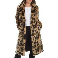 Rachel Rachel Roy Women's Leopard Print Faux Fur Midi Coat with Notch Collar