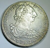 1781 AU Spanish Mexico Silver 8 Reales Antique 1700s Colonial Dollar Pirate Coin