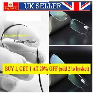 Mens Quality Ultralight Reading Glasses Rimless Metal Titanium +1.0 to+3.5 Elder