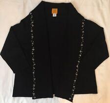 Ruby Red Woman Cardigan Sweater Stud Embellishment Black XL