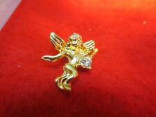 14 KT GOLD EP GUARDIAN ANGEL LAPEL PIN W/CRYSTAL SPECIAL LIST - $9.99