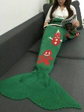 4x New Christmas Snow Man Winter Mermaid Tail Blanket Rugs Sleeping Bag Green