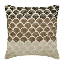 Brown Sofa Pillow Cover Designer 16x16 inch Silk, Sequins - Mountain Journey