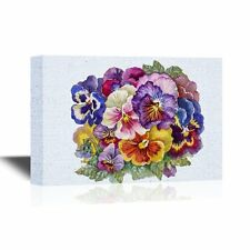 wall26 - Pansy Flower Canvas Wall Art - Colorful Watercolor Pansy Flowers -32x48