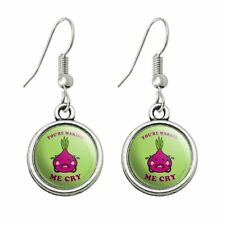 You're Making Me Cry Onion Funny Humor Novelty Dangling Drop Charm Earrings