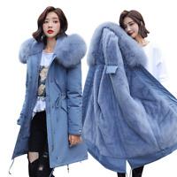 Womens Thicken Fur Collar Hooded Outwear Jacket Winter Warm Parka Coat Overcoat