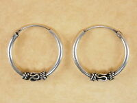 New Oxidized 925 Sterling Silver Byzantine Bali Style Hoops Earrings 18mm