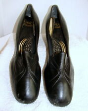 Vintage 1940/50's Womens Black Smooth Leather Shoes Selby's -7-1/2 N approx.