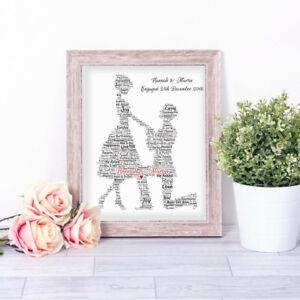 Personalised PROPOSAL Word Art Print Engagement Couple Gift Valentine Keepsake