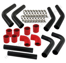 "Universal Diy 8Pc 2.5"" Turbo Intercooler Black Piping Kit With Red Couplers"