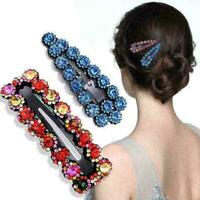 1X Women's Crystal Snap Hair Clips Hairpin Barrette Slide Hair Pin  HOT H3N C8I8