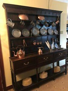Original Antique Solid Oak Welsh Coffin Dresser Potboard Original Hooks 19th C