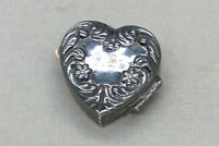 "Tiny Sterling Silver Heart Shaped Engraved ""J.B."" Trinket/Pill Box"