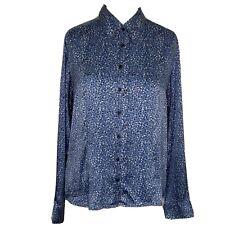 Gerard Darel Silk Flame Print Blue Spotted Blouse Size 42 Uk12