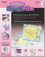 Grafix Shrink Film, Printable, White Inkjet, 6 Sheets in One Packet